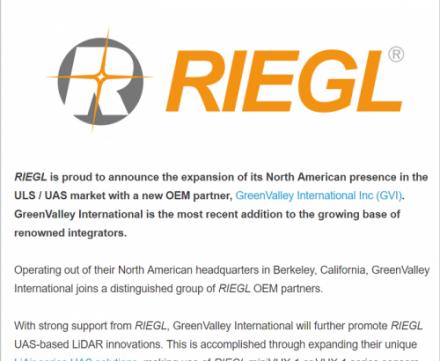 强强联手: 数字绿土与激光雷达知名厂商Riegl达成合作协议,携手拓展无人机激光雷达市场